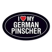 I Love My German Pinscher Oval Sticker/Decal