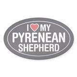 I Love My Pyrenean Shepherd Oval Sticker/Decal