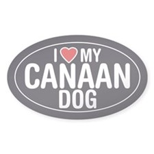 I Love My Canaan Dog Oval Sticker/Decal