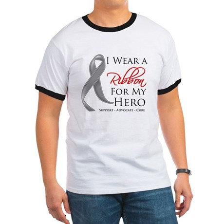 Hero Ribbon Brain Cancer Ringer T