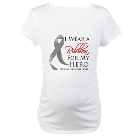 Hero Ribbon Brain Cancer Maternity T-Shirt