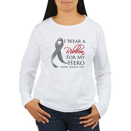 Hero Ribbon Brain Cancer Women's Long Sleeve T-Shi