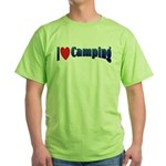 I Love Camping Green T-Shirt