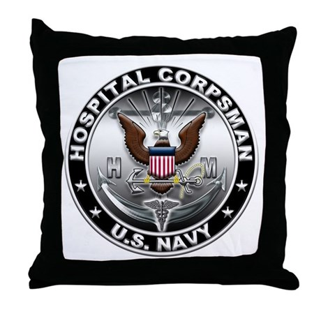USN Hospital Corpsman Eagle H Throw Pillow