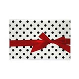 Black Polka Dots Rectangle Magnet