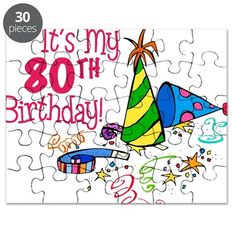 It's My 80th Birthday (Party Hats) Puzzle