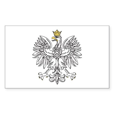 Polish Eagle With Gold Crown Sticker (Rectangle)