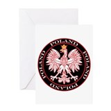 Round Polish Eagle Greeting Card
