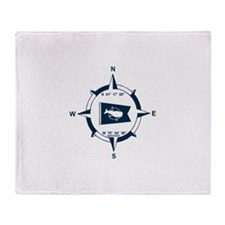 Nantucket MA - Compass Design Throw Blanket
