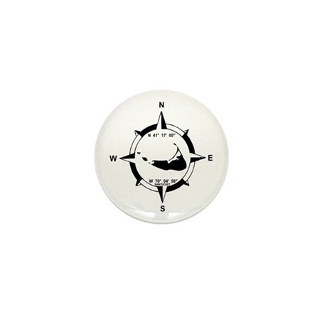 Nantucket MA - Compass Design Mini Button