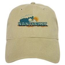 Nantucket MA - Waves Design. Baseball Cap