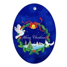 Peace Doves for Christmas Ornament (Oval)