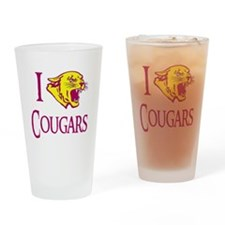 I Love Cougars Cougar Town Drinking Glass