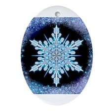 August Snowflake Ornament (Oval)
