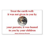 NATIVE AMERICAN PROVERB Sticker (Rectangle 10 pk)