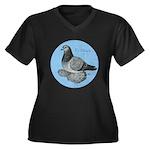 Frillback Pigeon Grizzle Women's Plus Size V-Neck
