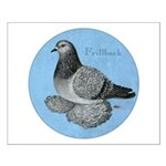 Frillback Pigeon Grizzle Small Poster