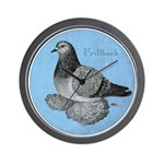 Frillback Pigeon Grizzle Wall Clock