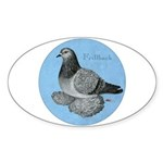 Frillback Pigeon Grizzle Sticker (Oval 10 pk)