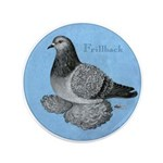 "Frillback Pigeon Grizzle 3.5"" Button"