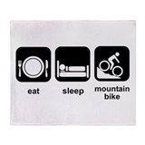 Eat Sleep Mountain Bike Throw Blanket