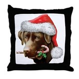 Chocolate Lab Christmas Throw Pillow
