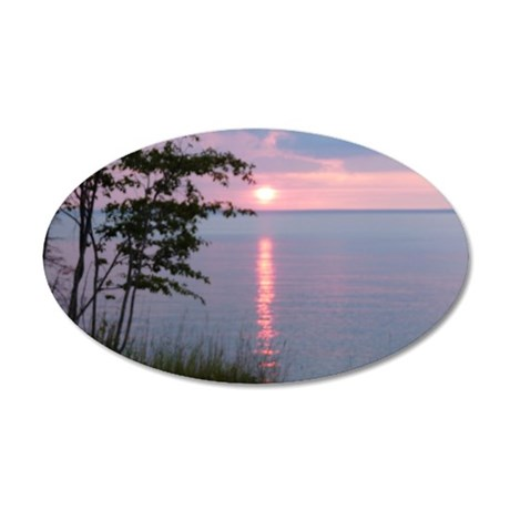 Sunset Lake Superior 35x21 Oval Wall Decal