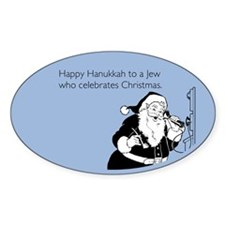 Jew Who Celebrates Christmas Sticker (Oval)