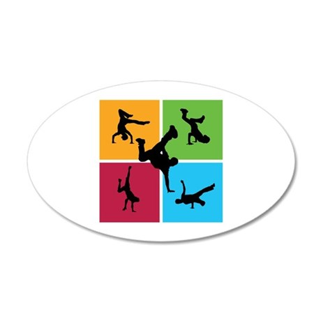 Nice various breakdancing 38.5 x 24.5 Oval Wall Pe