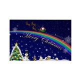 Rainbow Santa Rectangle Magnet (100 pack)