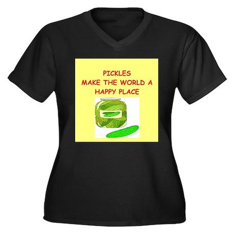 pickles Women's Plus Size V-Neck Dark T-Shirt