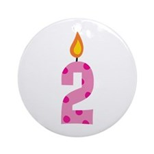 Custom 2nd Birthday Candle Ornament (Round)