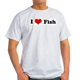 I Love Fish Ash Grey T-Shirt