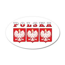 Polska Flag Eagle Shields 22x14 Oval Wall Peel
