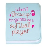 Kids Future Softball Player baby blanket