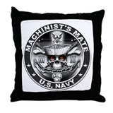 USN Machinists Mate MM Skull Throw Pillow