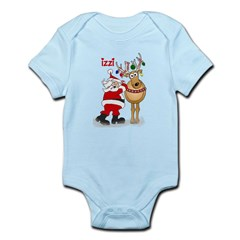 Santa and reindeer with the n Infant Bodysuit
