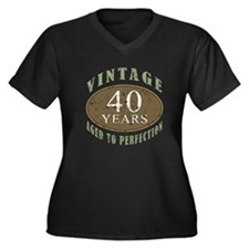 Vintage 40th Birthday Women's Plus Size V-Neck Dar