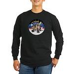 XmasSunrise-2Sheps-2cats Long Sleeve Dark T-Shirt