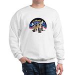 XmasSunrise-2Sheps-2cats Sweatshirt