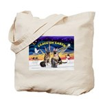 XmasSunrise-2Sheps-2cats Tote Bag
