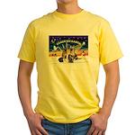 XmasSunrise-2Sheps-2cats Yellow T-Shirt