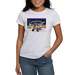 XmasSunrise-2Sheps-2cats Women's T-Shirt