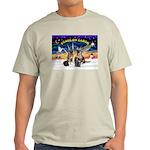 XmasSunrise-2Sheps-2cats Light T-Shirt