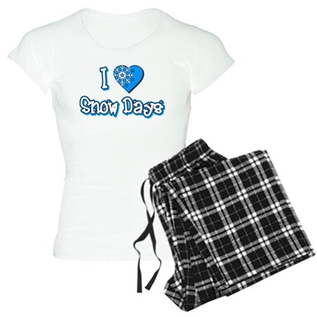I Love [Heart] Snow Days Womens Light Pajamas