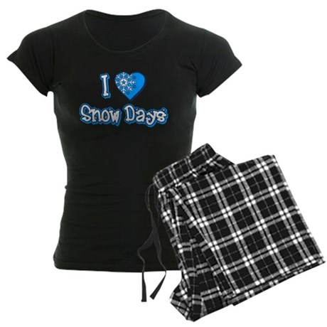 I Love [Heart] Snow Days Womens Dark Pajamas