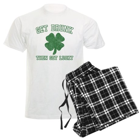 Get Drunk Get Lucky Mens Light Pajamas