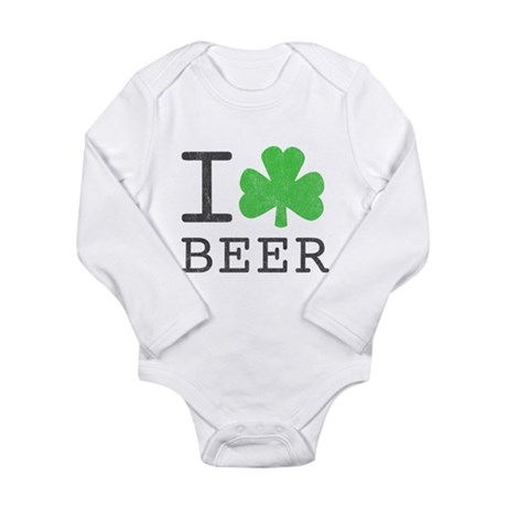 Vintage I Shamrock Beer Long Sleeve Infant Bodysui