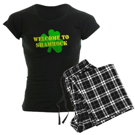 Welcome to Shamrock Womens Dark Pajamas