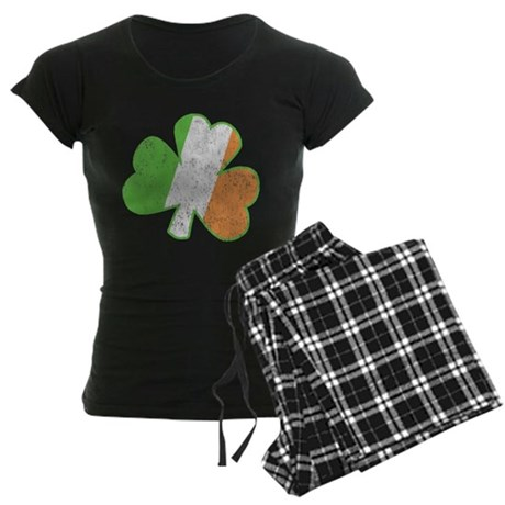 Vintage Irish Shamrock Womens Dark Pajamas